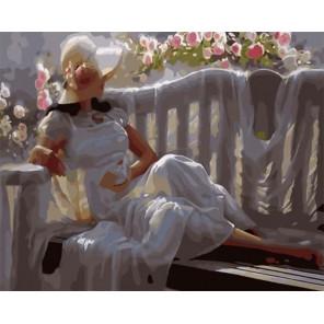 Дама в белом Раскраска картина по номерам на холсте GX33539