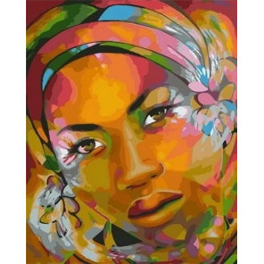 Арт-портрет африканки Раскраска картина по номерам на холсте MCA875