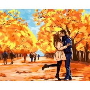 Осенний поцелуй Раскраска картина по номерам на холсте MCA772