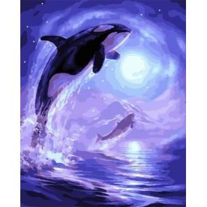 Ночные дельфины Раскраска картина по номерам на холсте PK59072