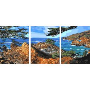 Скалистные берега Триптих Раскраска картина по номерам на холсте PX5280