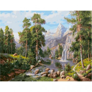 Пейзаж с водопадом Раскраска картина по номерам на холсте