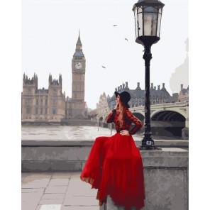 Девушка в Лондоне Раскраска картина по номерам на холсте GX24904