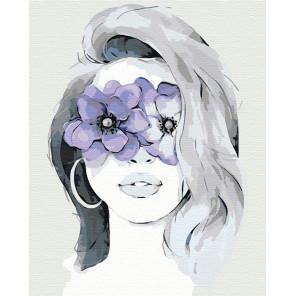 Девушка фиалка Раскраска картина по номерам на холсте AAAA-CG00011