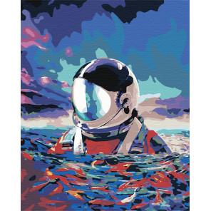 Астронавт в море Раскраска картина по номерам на холсте AAAA-RS001-100x125