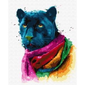 Пантера в цветном шарфе Раскраска картина по номерам на холсте ZX 23629