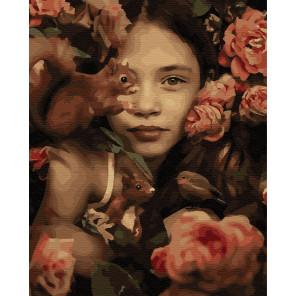 Девочка с белками Раскраска картина по номерам на холсте ZX 23884