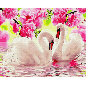 Лебеди в розовом цвету Раскраска картина по номерам на холсте ZX 23805