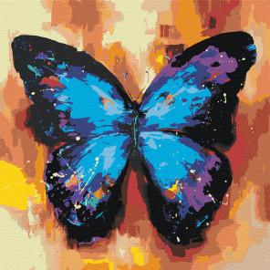 Акварельная бабочка синяя 1 Раскраска картина по номерам на холсте AAAA-RS003