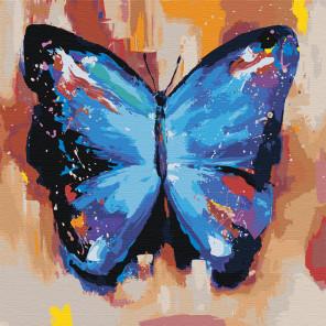 Акварельная бабочка синяя 2 Раскраска картина по номерам на холсте AAAA-RS004
