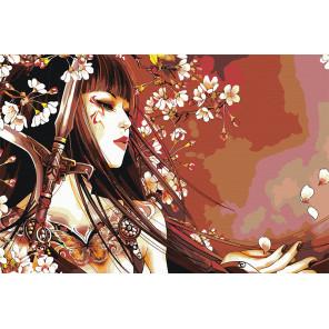 Меч, бабочка и сакура Раскраска картина по номерам на холсте AAAA-FIR115-100x150