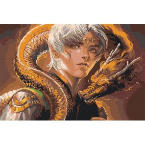 Пример картины в интерьере Юноша и дракон Раскраска картина по номерам на холсте AAAA-GDS111-80x120