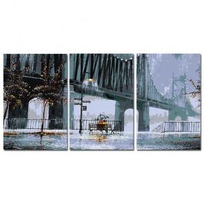 Дождливый вечер Триптих Раскраска картина по номерам на холсте AAAA-TRIPT004