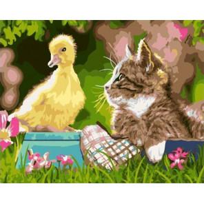 Котёнок и утёнок Раскраска картина по номерам на холсте GX35382
