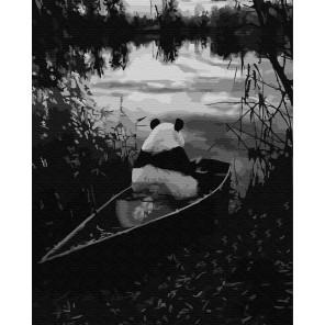 Панда на рыбалке Раскраска картина по номерам на холсте ZX 23869