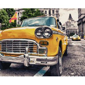 Желтое ретро-такси Раскраска картина по номерам на холсте ZX 23758