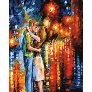 Поцелуй в ночных огнях Раскраска картина по номерам на холсте ZX 23334