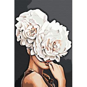 Девушка с пионами Раскраска картина по номерам на холсте DAA030899-80x120