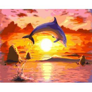 Прыжок дельфина Раскраска картина по номерам на холсте PK72037