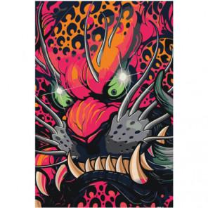 Маска злого красного дракона 80х120 Раскраска картина по номерам на холсте