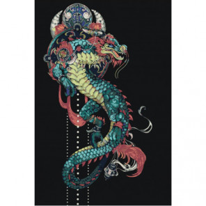 Японский дракон 100х150 Раскраска картина по номерам на холсте