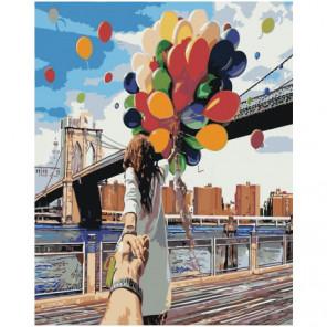 Следуй за мной, девушка и воздушные шары 80х100 Раскраска картина по номерам на холсте