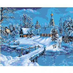 Зимний пейзаж с церковью 80х100 Раскраска картина по номерам на холсте