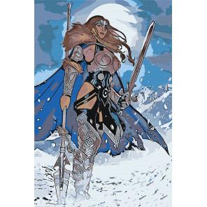 Девушка воин. Валькирия Раскраска картина по номерам на холсте AAAA-RS023-80x120