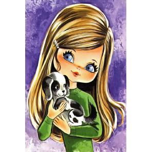 Девочка с щенком Раскраска по номерам на холсте KH0901