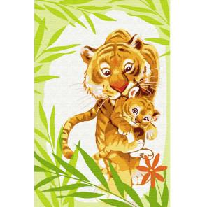 Тигрица с тигрёнком Раскраска по номерам на холсте KH0886