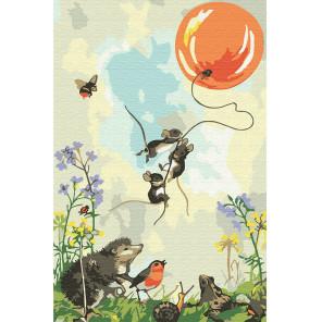 Мышата на воздушном шаре Раскраска по номерам на холсте KH0893