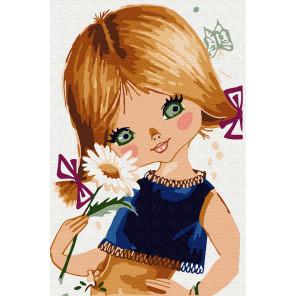 Девочка с ромашкой Раскраска по номерам на холсте KH0895