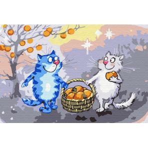 Коты с урожаем Раскраска по номерам на холсте KH0898
