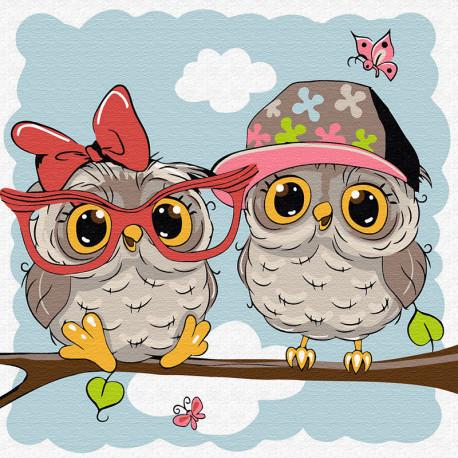 KH0850 Маленькие совята Раскраска картина по номерам на ...