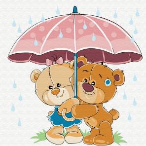 Медвежата в летний дождь Раскраска картина по номерам на холсте KH0829