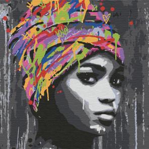 Африканская девушка Раскраска картина по номерам на холсте KHM0031