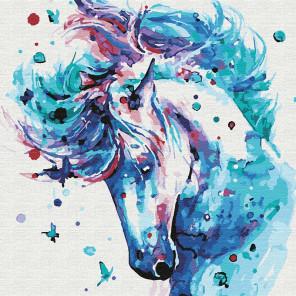 Белый мустанг Раскраска картина по номерам на холсте KHM0048