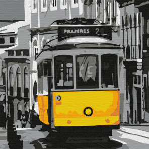 Старинный трамвай Раскраска картина по номерам на холсте KHM0060