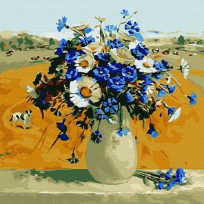 Ромашки с васильками в вазе Раскраска картина по номерам на холсте KH0701