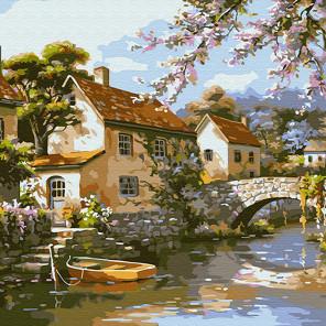 Городок на реке Раскраска картина по номерам на холсте KH0717
