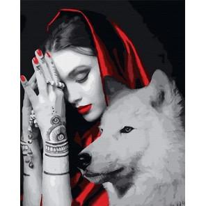 Белая волчица Раскраска картина по номерам на холсте