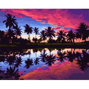 Тропический закат Раскраска картина по номерам на холсте