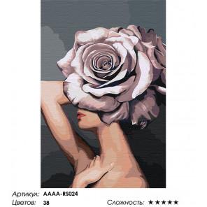 Сложность и количество цветов Девушка. Цветочная голова - роза Раскраска картина по номерам на холсте AAAA-RS024-100x150