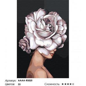 Сложность и количество цветов Девушка. Цветок на голове - роза Раскраска картина по номерам на холсте AAAA-RS025-80x120