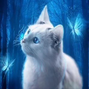 Голубоглазая кошка Алмазная мозаика вышивка без подрамника Molly KM0218