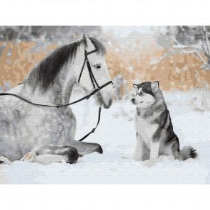 Друзья навсегда Картина по номерам с цветной схемой на холсте KK0614