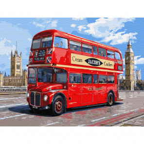 Автобус Лондона Картина по номерам с цветной схемой на холсте KK0650