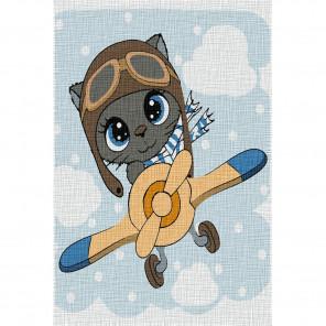 Котёнок-пилот Раскраска по номерам на холсте KHM0020