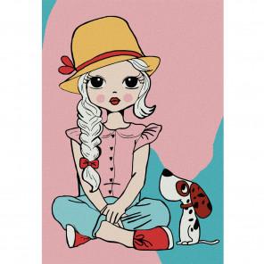 Девочка с собакой Раскраска по номерам на холсте KHM0024