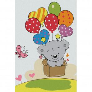 Медвежонок с шариками Раскраска по номерам на холсте KHM0018